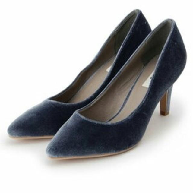 OZOC(オゾック)の新品未使用M ベロア ブルー OZOC ポインテッドトゥー パンプス  オゾック レディースの靴/シューズ(ハイヒール/パンプス)の商品写真