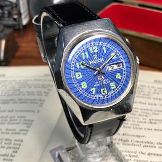 リコー(RICOH)の80's ビンテージ リコー 自動巻メンズウォッチ OH済 ブルースクロール①(腕時計(アナログ))