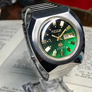 リコー(RICOH)の70's ビンテージ リコー 自動巻メンズ時計 OH済 グリーングラデーション(腕時計(アナログ))