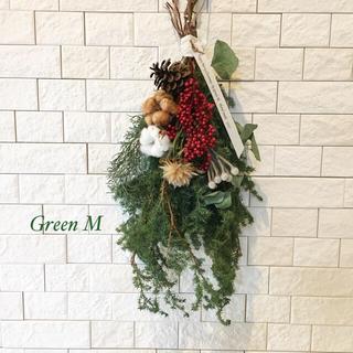 プルモーサムのクリスマスのスワッグ&コットンフラワー  送料無料  商品22(ドライフラワー)