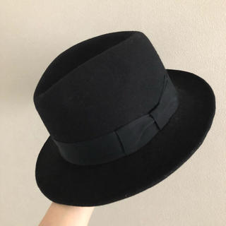 カシラ(CA4LA)の【CA4LA KNOX】ウール 中折れ ハット 帽子 ブラック 55cm 送料込(ハット)