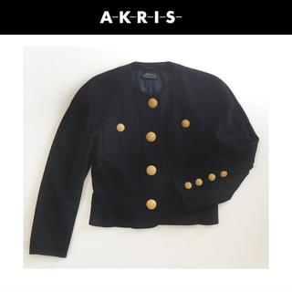 アクリス(AKRIS)の【美品&送料込!】AKRIS アクリス カシミヤジャケット(ノーカラージャケット)