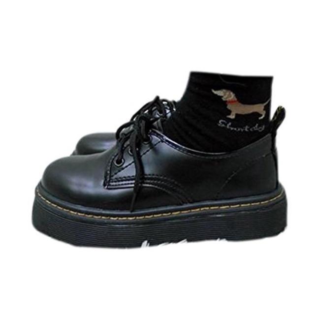ドクターマーチン風 革靴 厚底 黒 パンプス トレンド オシャレ 冬 レディースの靴/シューズ(ローファー/革靴)の商品写真