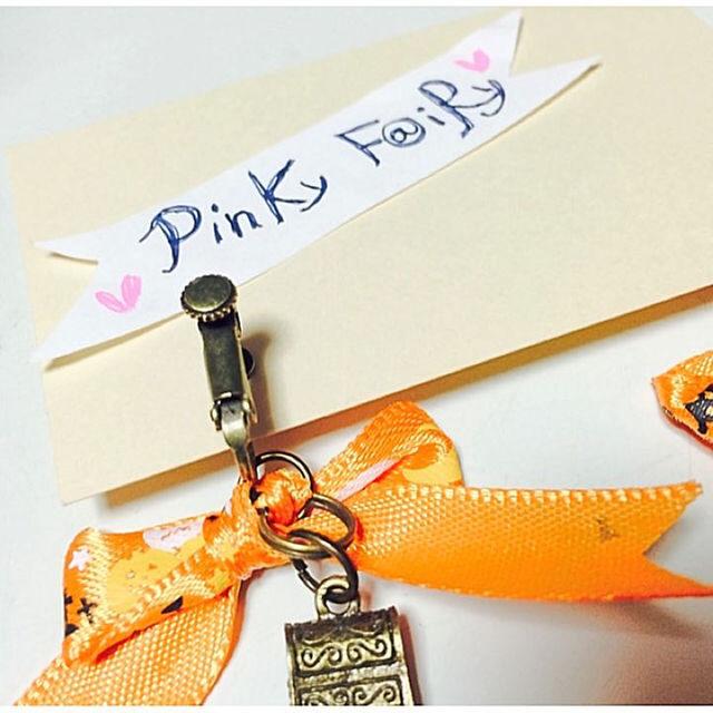 ハロウィンオレンジおりぼん宝箱ビジューイヤリング ハンドメイドのアクセサリー(イヤリング)の商品写真