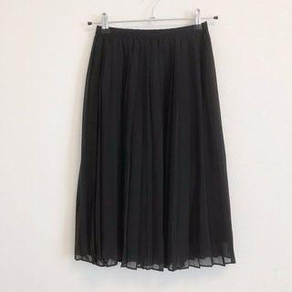 ブラック プリーツ シフォン スカート(ロングスカート)