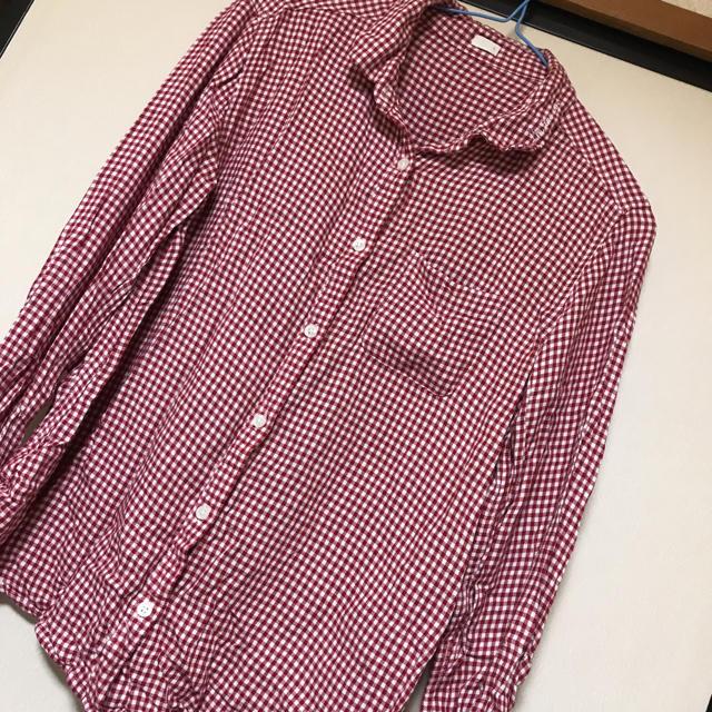 M 赤チェックシャツ レディースのトップス(シャツ/ブラウス(長袖/七分))の商品写真