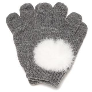 プティマイン(petit main)のプティマイン ファーポンポンつきニット手袋 新品(手袋)