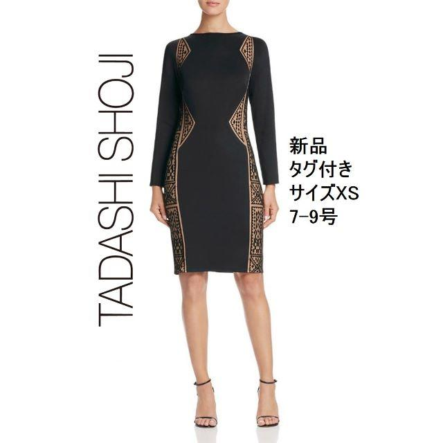 TADASHI SHOJI(タダシショウジ)のMF様【新品・格安】Tadashi shoji 刺繍レース×ジャージー素材 XS レディースのワンピース(ひざ丈ワンピース)の商品写真