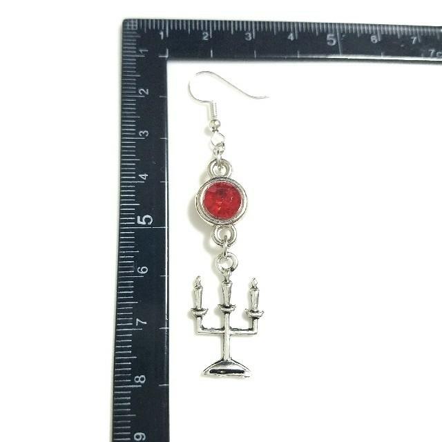 ✡ハンドメイドピアス✡ キャンドルピアス シルバー 蝋燭台 No.44 ハンドメイドのアクセサリー(ピアス)の商品写真