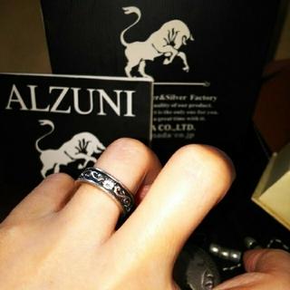 【美品】高純度 【 ALZUNI 】唐草ジルコニア シルバー950 ペアリング(リング(指輪))