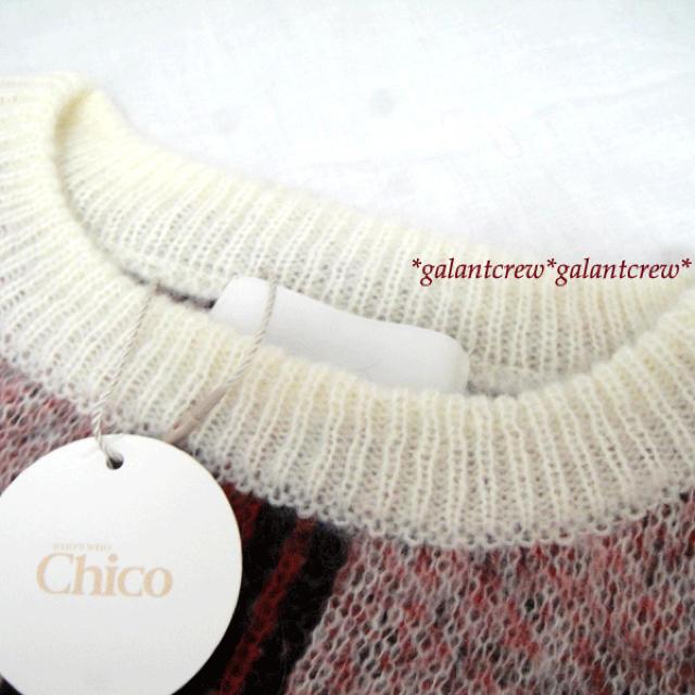 who's who Chico(フーズフーチコ)の【新品】who's who Chicoフーズフーチコ★チェック柄ニット赤白系 レディースのトップス(ニット/セーター)の商品写真