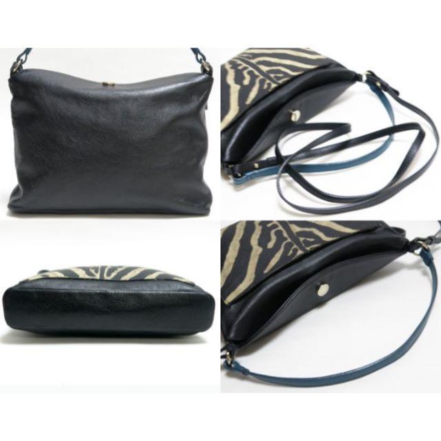 Furla(フルラ)の本物 美品 FURLA フルラ ショルダーバッグ レザー 黒×ゼブラ柄 レディースのバッグ(ショルダーバッグ)の商品写真