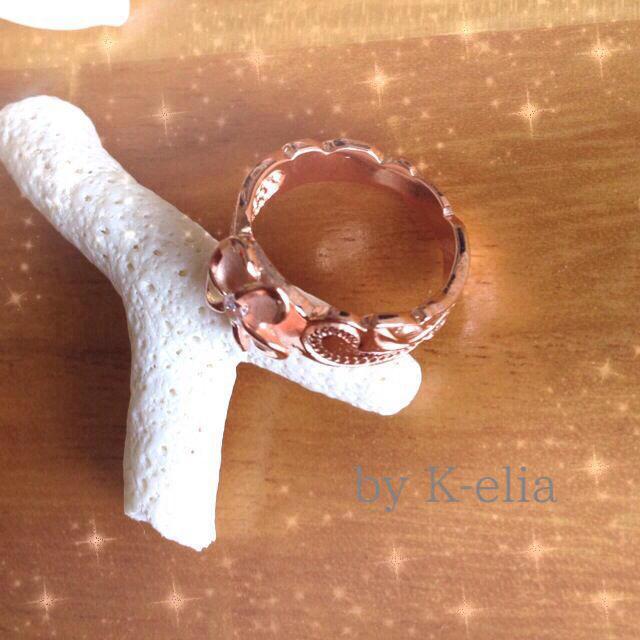 ハワジュ☆ピンクプルメリアピンキー レディースのアクセサリー(リング(指輪))の商品写真