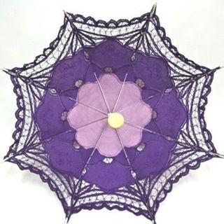 新品!手作りl日傘lバテンレースl刺繍l小さめl紫(傘)