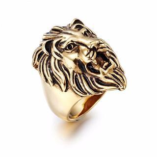 高品質316Lステンレス ゴールド金 シルバー銀 ブラック黒 ライオン獅子 指輪(リング(指輪))