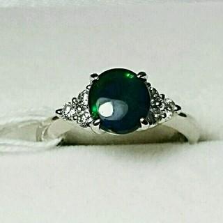 Pt900ブラックオパール&ダイヤリング(リング(指輪))