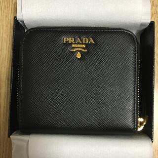プラダ(PRADA)の値下げ 新品 PRADA 折りたたみ財布 ブラック 黒(財布)