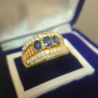 k18   サファイア  ダイヤモンド   リング   指輪    アンティーク(リング(指輪))