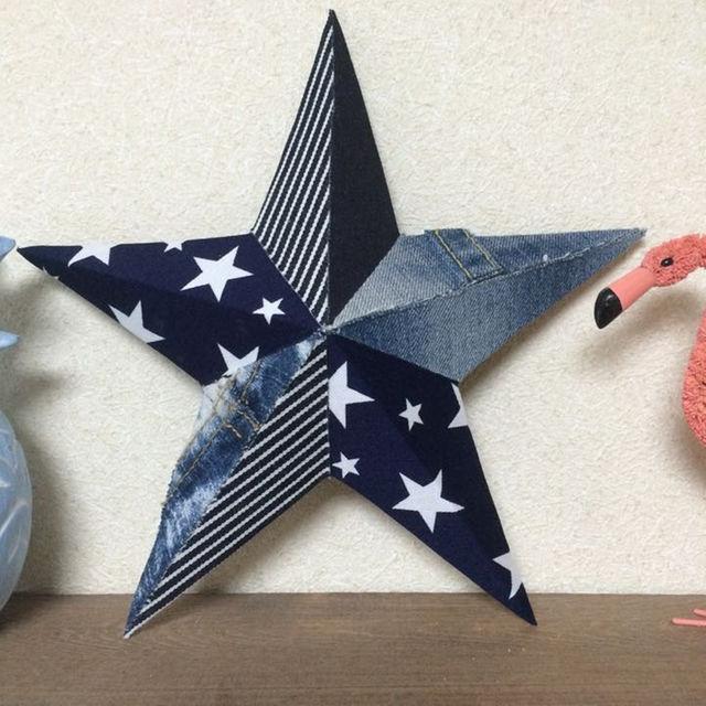 デニムバーンスター☆Mサイズ(STAR) ハンドメイドの生活雑貨(その他)の商品写真