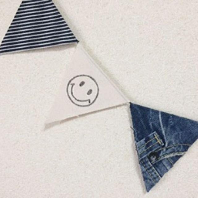 デニム×スマイルガーランド(Lサイズ) ハンドメイドの生活雑貨(その他)の商品写真