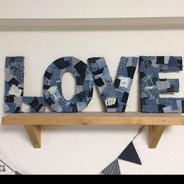 パッチワークデニム♡Loveオブジェ ハンドメイドの生活雑貨(その他)の商品写真