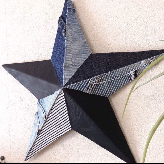 デニムバーンスター★アンティークレザー調(ブラック M.L) ハンドメイドの生活雑貨(その他)の商品写真