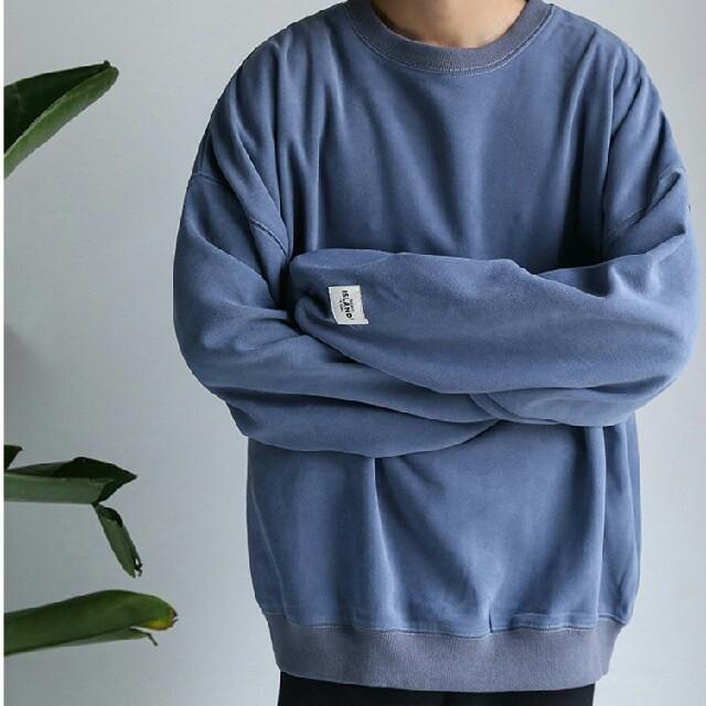 古着系 スウェット トレーナー  韓流 ダークブルー  メンズのトップス(スウェット)の商品写真