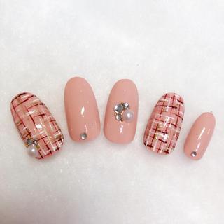 ネイルチップ ジェルネイル ピンク ツイードネイル 冬ネイル シンプルネイル
