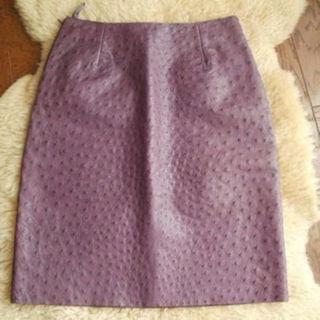 プラダ(PRADA)のプラダ Prada オーストリッチ レザー 革 スカート 紫 38 未使用新品(ひざ丈スカート)