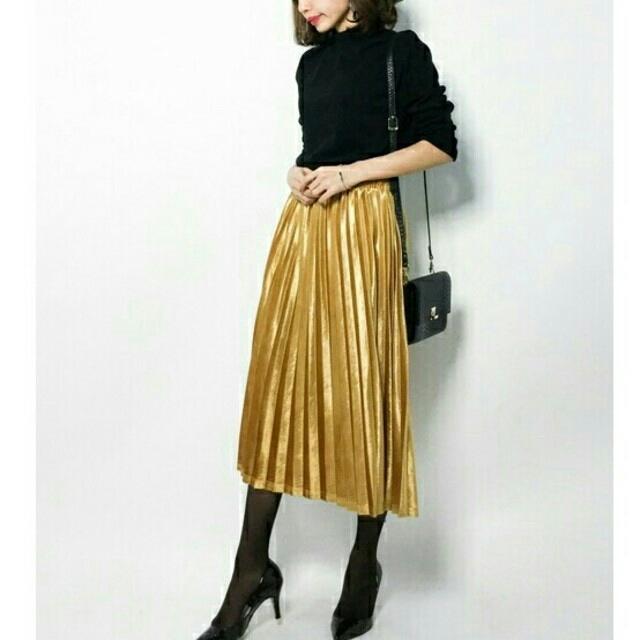 2d10301907237c merlot - 秋冬新作*◌⑅⃝♡*メルロー 光沢 ベロアプリーツスカート 黄色 ...