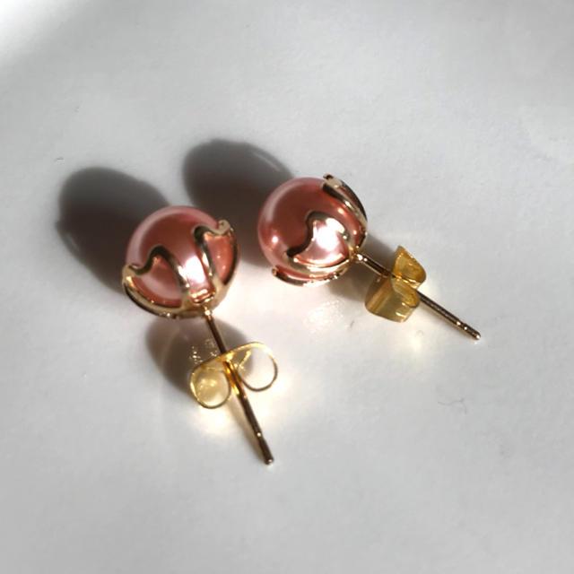 一粒ピンクパールのピアス ハンドメイドのアクセサリー(ピアス)の商品写真