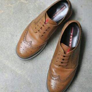 プラダ(PRADA)のPRADAのウィングチップシューズ(25.5)(ローファー/革靴)