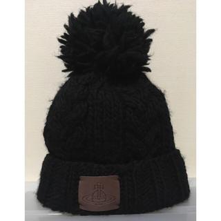 ヴィヴィアンウエストウッド(Vivienne Westwood)の【Vivienne westwood】ポンポンニット帽 黒 ヴィヴィアン(ニット帽/ビーニー)