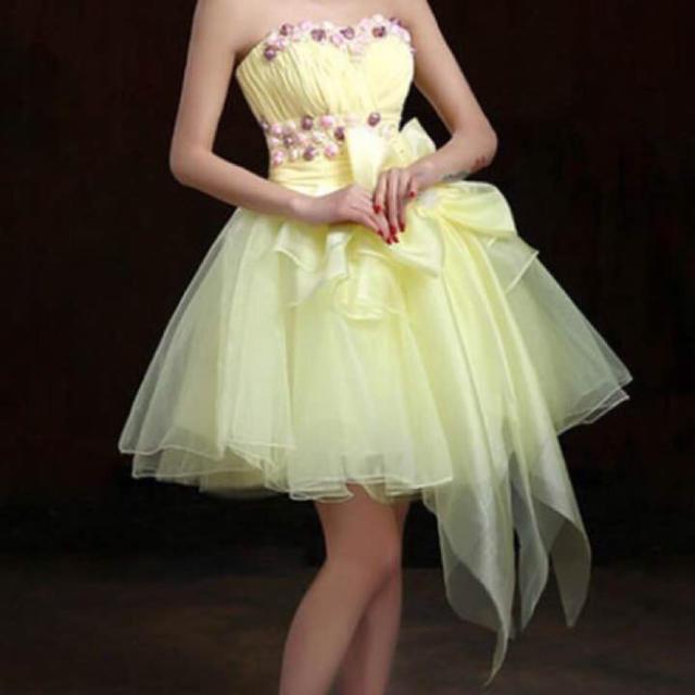 88351a80a5aaa ミニドレス 花 黄色 レディースのフォーマル ドレス(ミニドレス)の商品写真