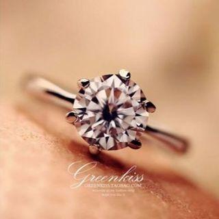 ≪美品≫1.1ctダイヤモンドCZ彩石立爪6リング 9号/シルバー(リング(指輪))