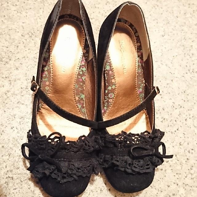 パンプス 黒 リボン レース かわいい レディースの靴/シューズ(ハイヒール/パンプス)の商品写真