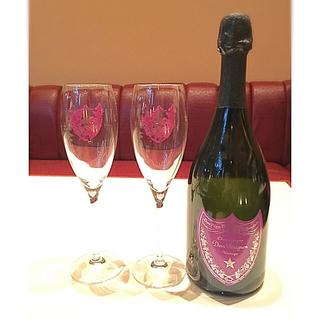 ドンペリニヨン(Dom Pérignon)のドンペリ*アンディウォホル 赤紫セット!グラス2個&ダミーボトル(グラス/カップ)