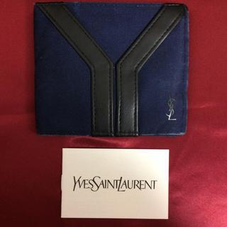 イヴサンローランボーテ(Yves Saint Laurent Beaute)の イヴサンローラン 財布 二つ折り 折りたたみ 青 メンズ 男性 美品 オシャレ(折り財布)