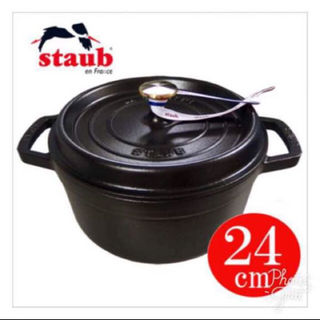 ストウブ(STAUB)のストウブ ピコ ココット ラウンド 24cm ブラック ①ラスト1点です(調理道具/製菓道具)