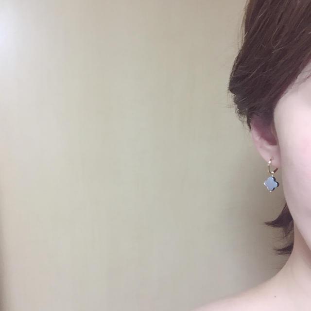 黒蝶貝ブラックシェルフープイヤリングor14kgfフックピアス♡ ハンドメイドのアクセサリー(ピアス)の商品写真