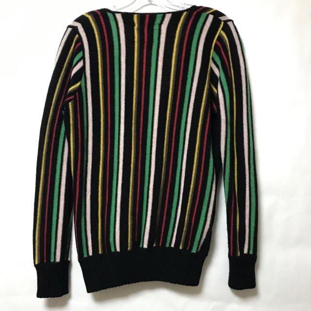 vintage マルチカラー ストライプ ウール カーディガン used メンズのトップス(ニット/セーター)の商品写真