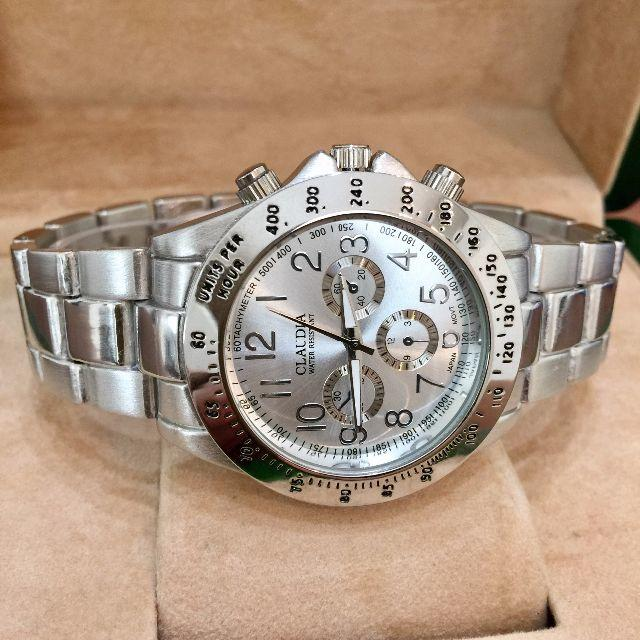 大特価!定番の人気商品♪シルバーメタルメンズ腕時計★ブラック メンズの時計(腕時計(アナログ))の商品写真