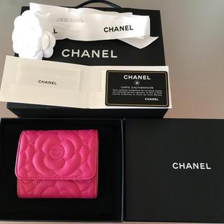 シャネル(CHANEL)のMaynard様専用 新品未使用 CHANELカメリア三つ折り財布(折り財布)
