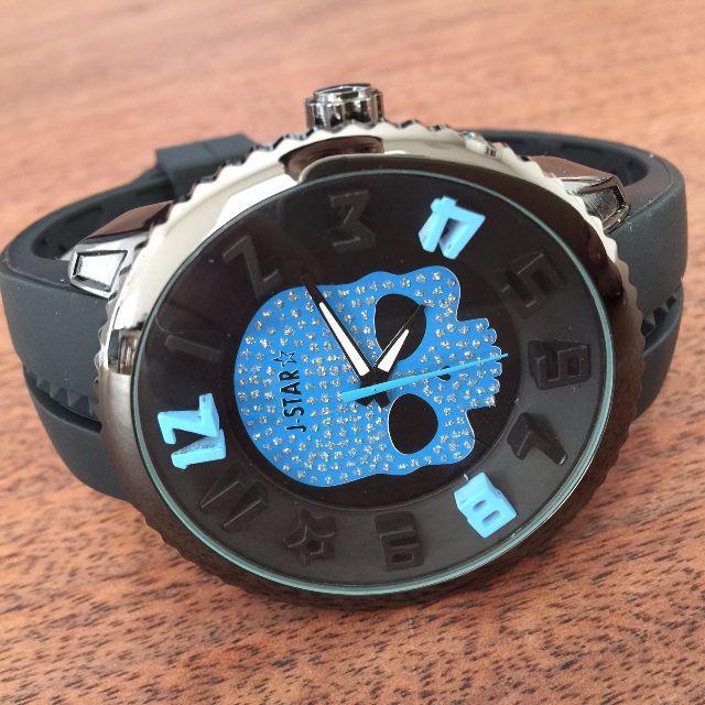 大特価!おしゃれなドクロ×ジルコ★ラバーメンズ腕時計◇ブルー×ブラック メンズの時計(腕時計(アナログ))の商品写真