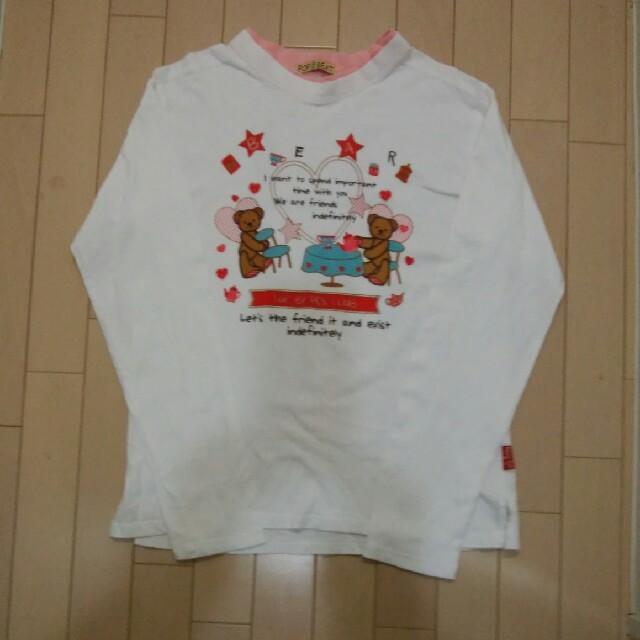 長袖シャツ LLサイズ  カットソー テディベア プリント柄 白 レディースのトップス(Tシャツ(長袖/七分))の商品写真