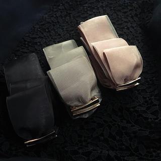 アネモネ(Ane Mone)の新品 リボン2枚重ね バナナクリップ  チュール オーガンジー ゴールド金具 (バレッタ/ヘアクリップ)
