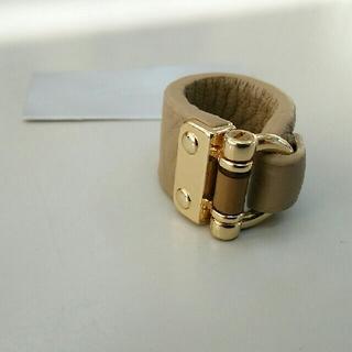 Cream dot/本革 レザーバンブーリング ベージュ×ゴールド(リング(指輪))