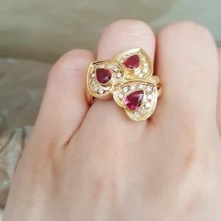 ボリュームk18☆ルビー×ダイヤ×ハートリング☆ルビーダイヤ指輪(リング(指輪))