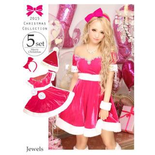 ジュエルズ(JEWELS)のjewels ピンクサンタ サンタコス ビジュー キャバドレス クリスマス(衣装一式)