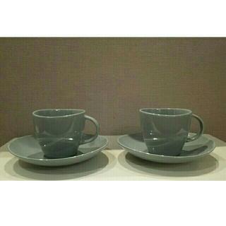 ムジルシリョウヒン(MUJI (無印良品))の無印良品 カップ&ソーサー二脚セット[ブルー](食器)